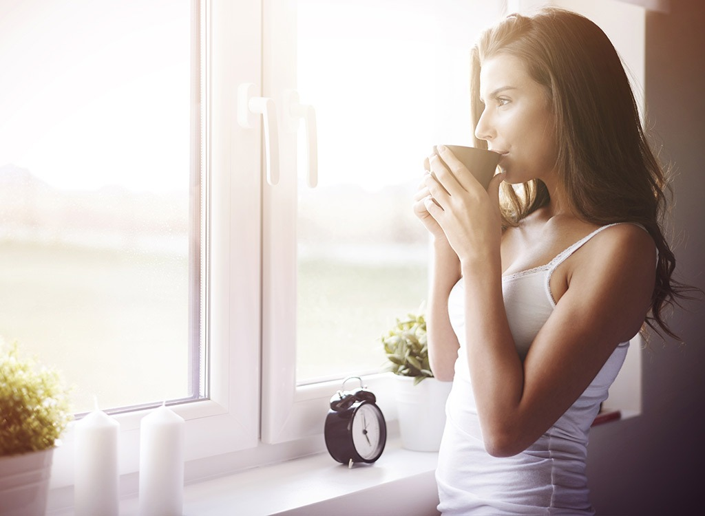 woman with morning coffee - stop thinking about food