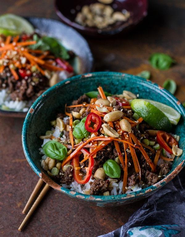 Bowl roundup Thai Basil Beef and Lemongrass Rice Bowl