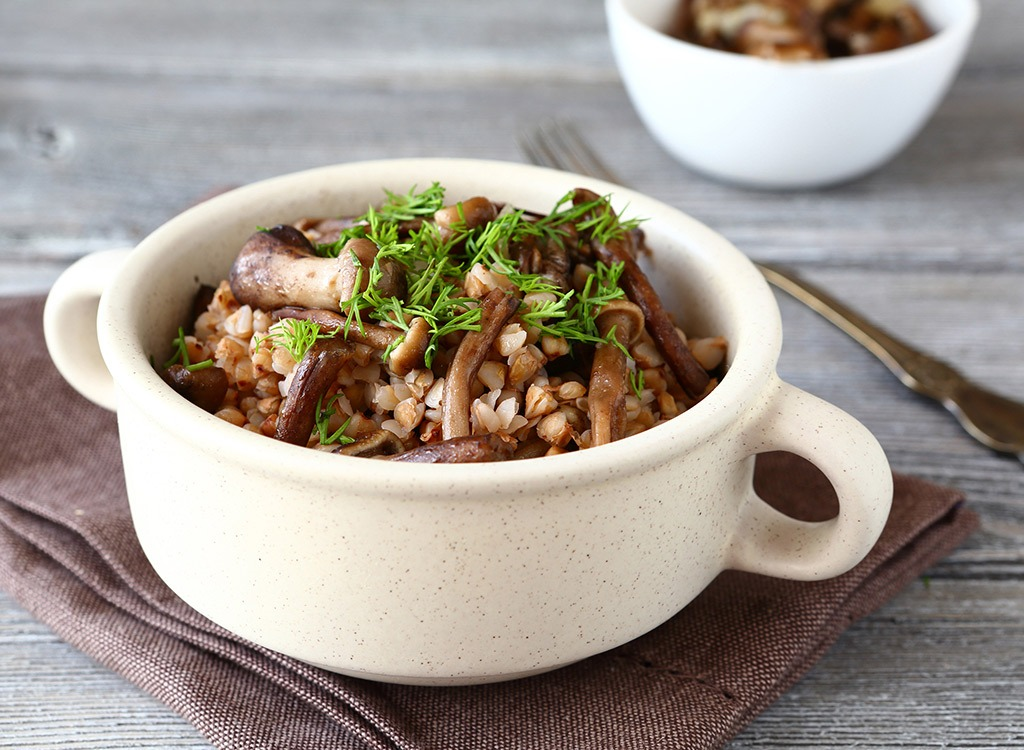 Bowl of buckwheat and mushrooms