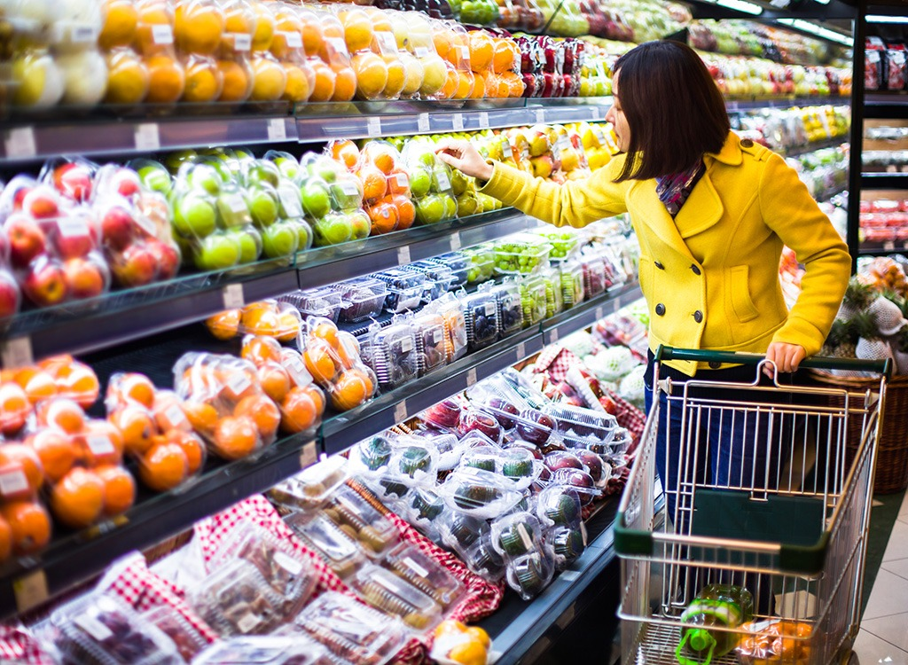 Woman in produce section