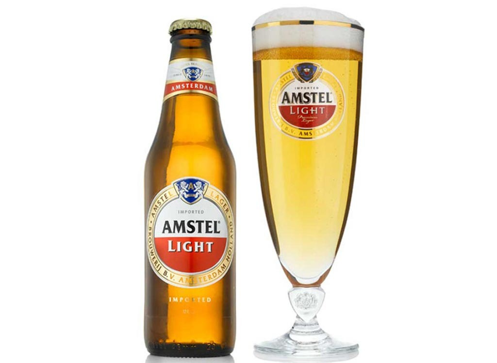 amstel light beer in glass