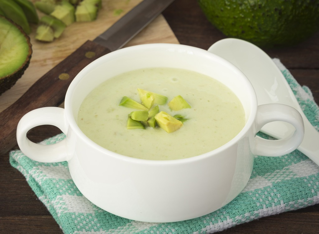 chilled avocado soup in a bowl