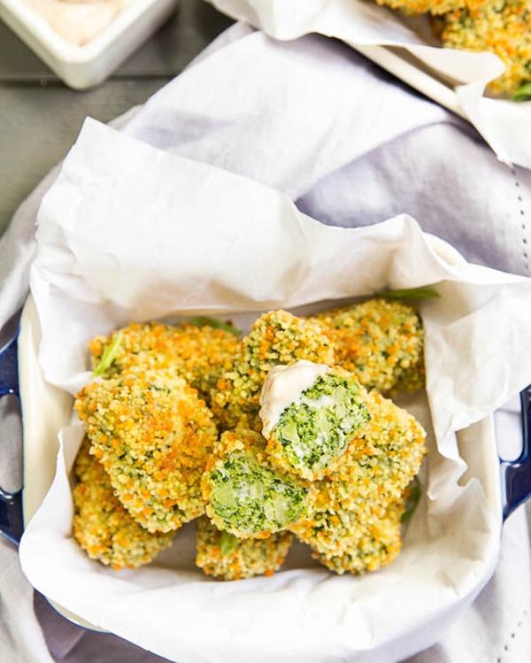 quinoa crusted broccoli cheese tots
