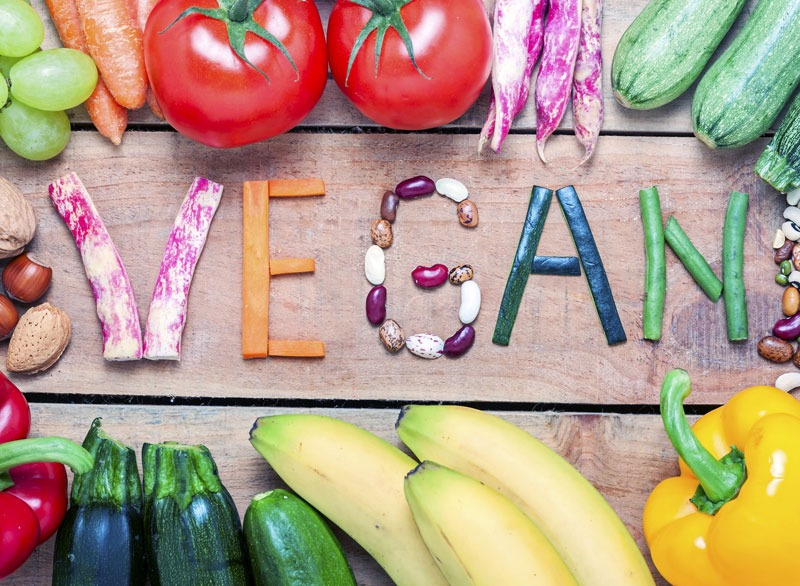 Vegan letters made out of produce