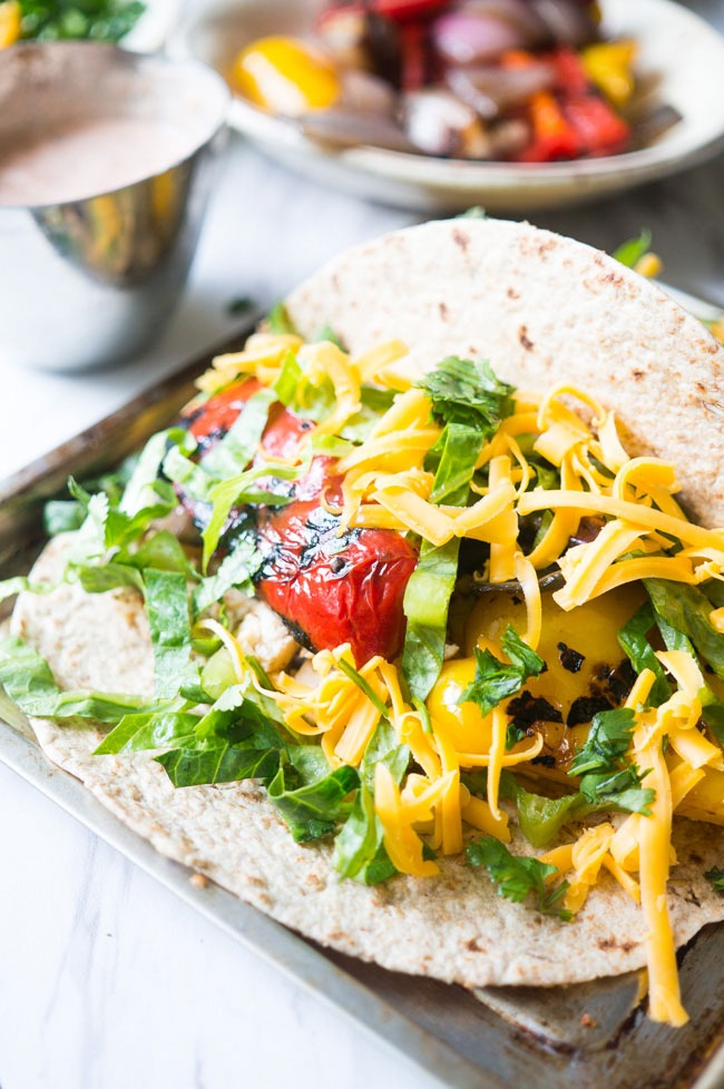 chicken fajitas with charred peppers