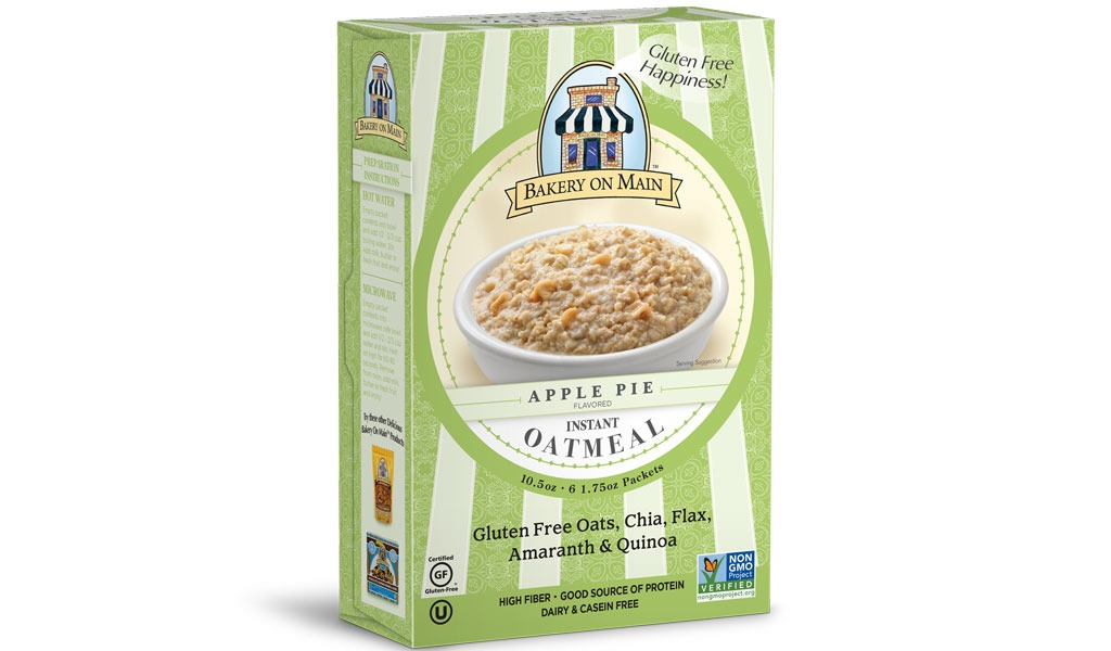 bakery on main gluten free apple pie flavor instant oatmeal