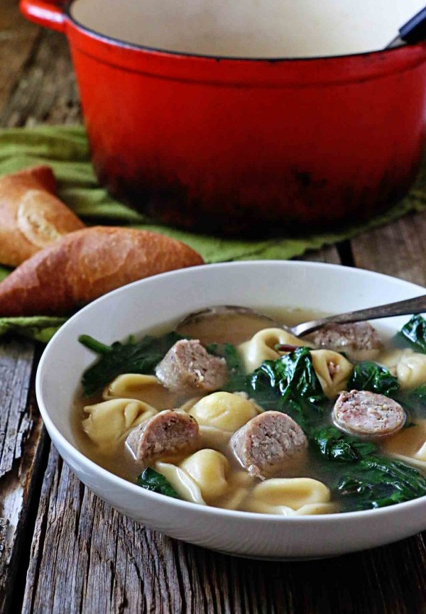 Sausage Spinach Tortellini Soup