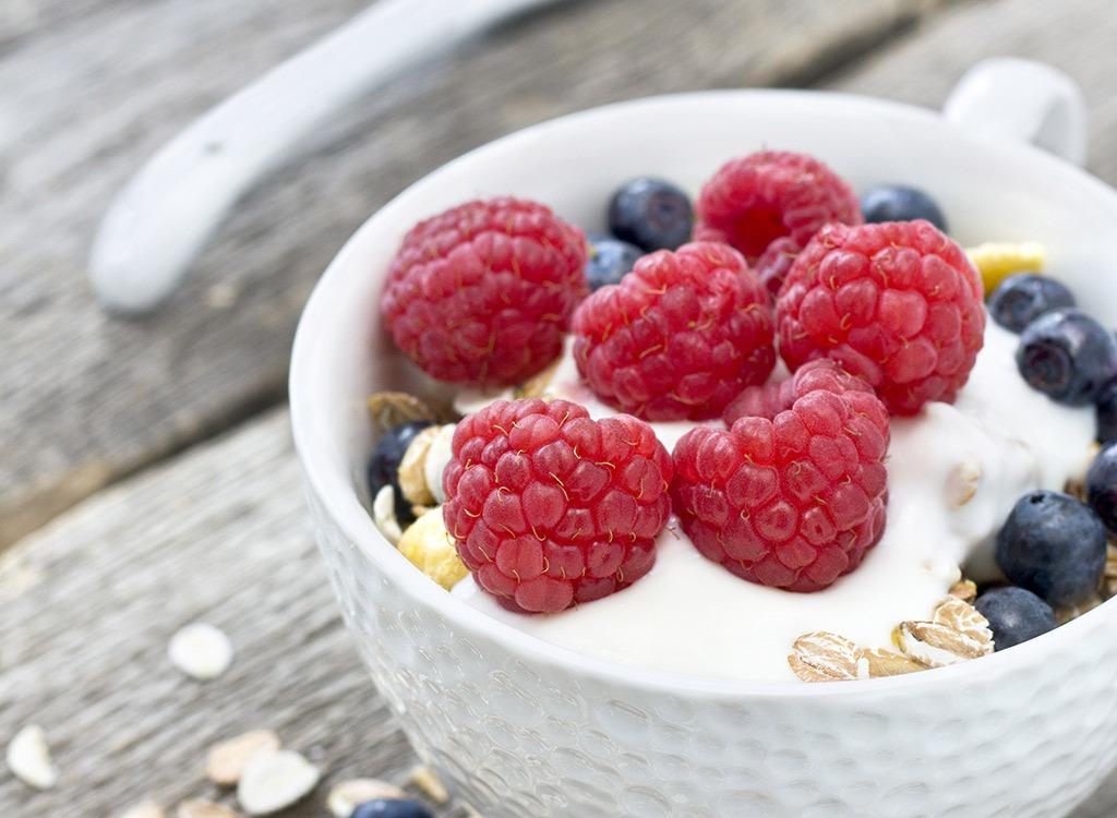 Raspberries in yogurt