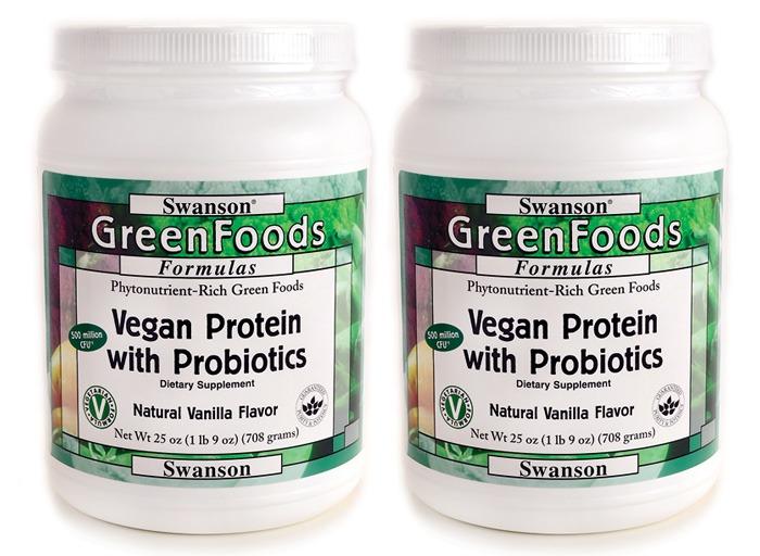 swanson green food vegan protein with probiotics