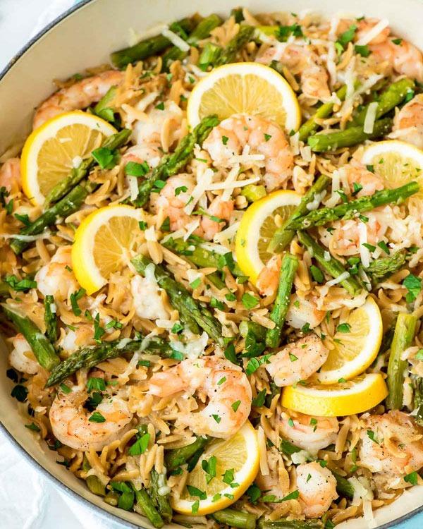 Shrimp recipes Lemon Shrimp Pasta with Orzo and Asparagus