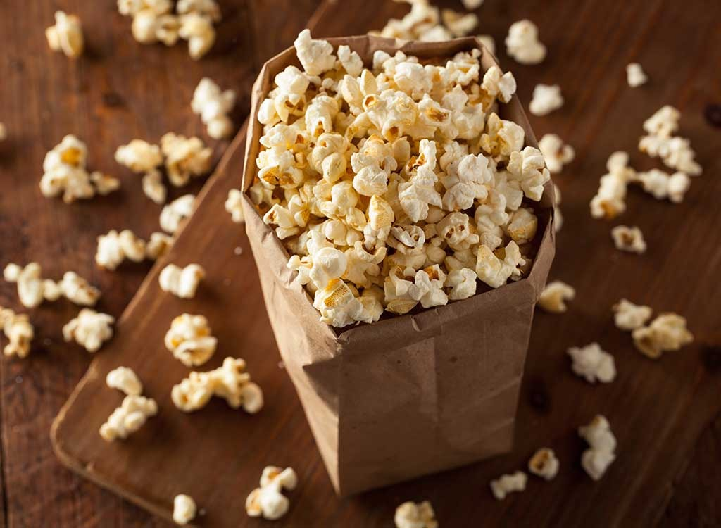 popcorn in brown bag