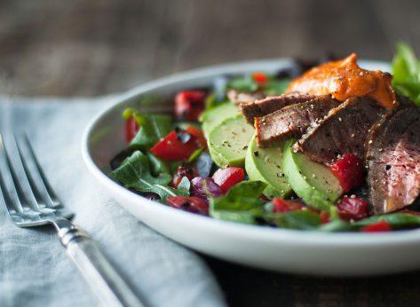Healthy steak salad with avocado