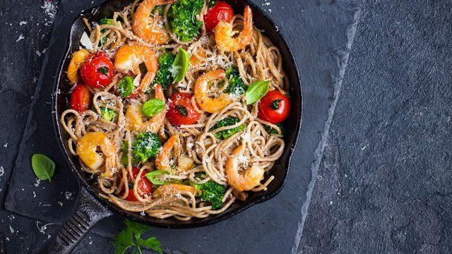 Pasta shrimp veggies bowl