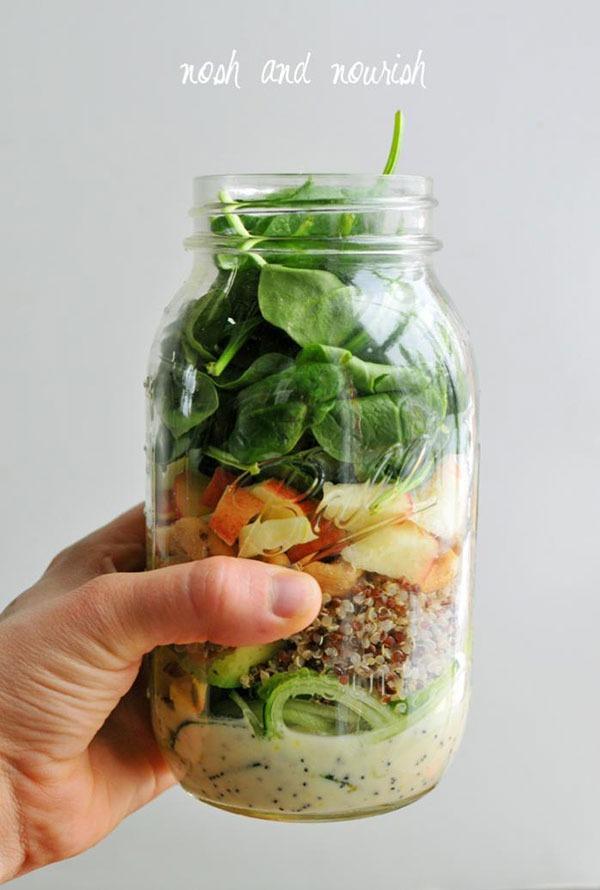 cucumber noodle mason jar salads