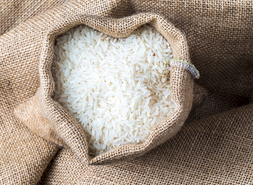 white rice in brown canvas bag